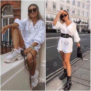 ZARA White Poplin Shirt Dress sz XS